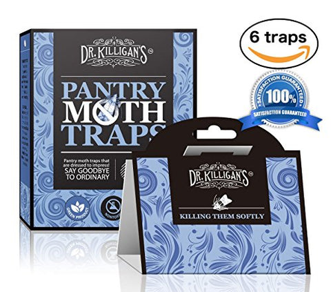 Dr. Killigan'S Premium Pantry Moth Traps With Pheromone Attractant | Safe, Non-Toxic With No Insecticides (6, Blue Traps)