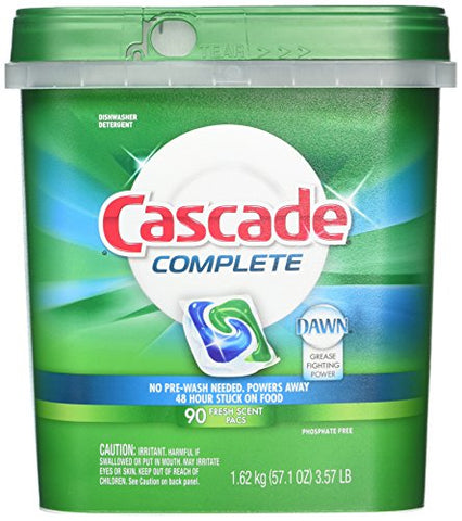 Cascade Complete Dishwasher Detergent, With Dawn Grease Fighting Power, 90 Fresh Scent Action Pacs