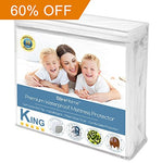 King Size Premium Mattress Protector - 100% Waterproof - Vinyl Free Hypoallergenic - 10 Year Warranty - (King, White)