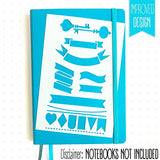 Bullet Journal Stencil Set - Banners, Dividers, & Icons | Fits Leuchtturm & Moleskine A5 Notebooks | Best Used With Huhuhero Fineliners & Sakura Micron Pens