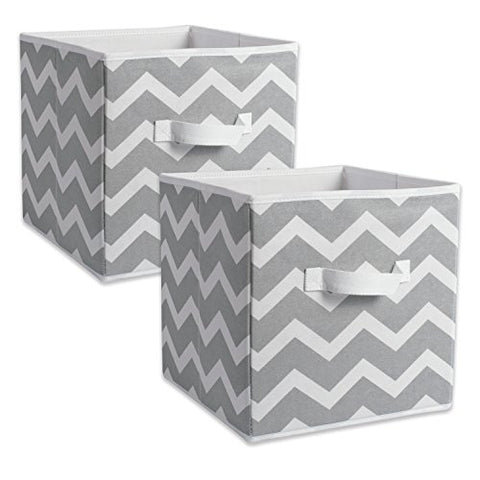 Dii Foldable Fabric Storage Containers For Nurseries, Offices, Closets, Home Dcor, Cube Organizers & Everyday Storage Needs, (Large - 11 X 11 X 11) Chevron Grey - Set Of 2