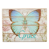 Botanic Butterfly Blessings Grace Wooden Wall Plaque - Ephesians 2:8