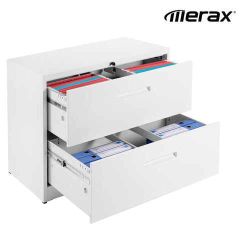 Merax Lateral File Cabinet 2 Drawer Locking Filing Cabinet Two Drawers Metal Organizer Heavy Duty Hanging File Office Home Storage