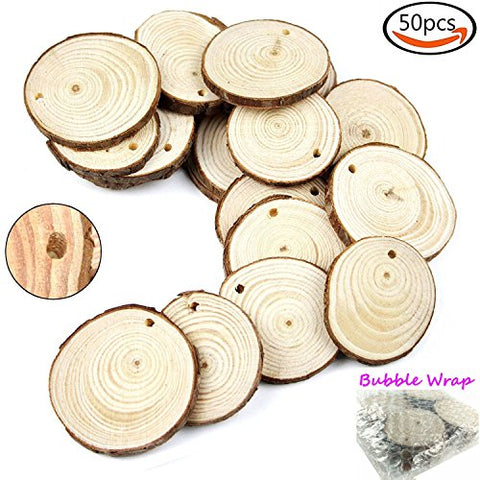 Goodlucky 50Pcs 1.6 -2  Unfinished Predrilled Natural Wood Slices