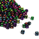 600 Pieces 6Mm Diy Black Colorful Acrylic Alphabet Letter Cube Beads For Jewelry Making, Diy Bracelets, Necklaces,Children'S Educational Toys, Key Chains And Children'S Educational Toys (Black)