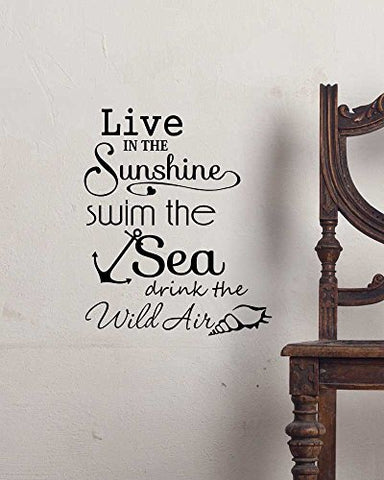 Wall Decal Live In The Sunshine Swim The Sea Drink The Wild Air. Cute Ocean Ralph Waldo Emerson Inspired Vinyl Wall Decor Quotes Sayings Inspirational Wall Art