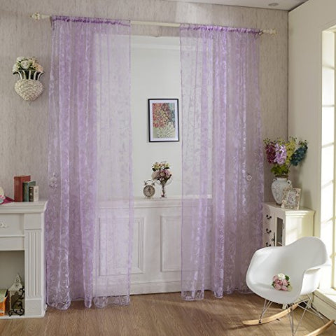 Haoun 2Pcs Butterfly Window Panels Drapes Curtains Sheer Voile Tulle Home Room 39.4X78.8 (Purple Butterfly)