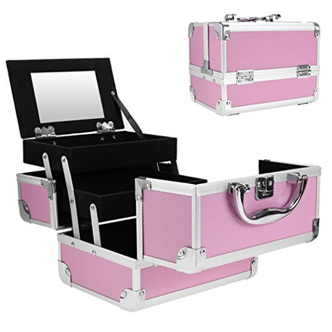 Jaketen Professional Small Makeup Train Case - Cosmetic Box With Adjustable Dividers - Aluminum Make Up Artist Organizer Kit With Mirror Jewelry Box - 3 Extendable Trays (Pink_Black)