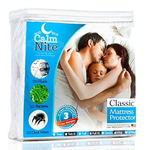 King Size Mattress Pad Protector - Waterproof & Hypoallergenic Cover, Vinyl Free Topper - Machine Washable - By Calmnitetm