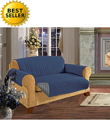 #1 Best Seller Reversible Furniture Protector! Elegance Linen Luxury Slipcover/Furniture Protector Great For Pets & Children With Straps To Prevent Slipping Off, Loveseat Size, Navy Blue/Gray