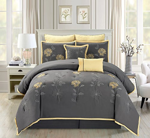 7 Piece Modern Oversize Grey / Yellow Sunflower Embroidered Comforter Set Queen Size Bedding