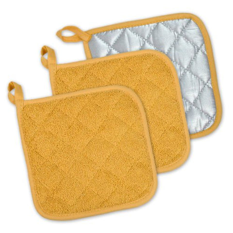 Dii 100% Cotton, Machine Washable, Heat Resistant, Everyday Kitchen Basic, Terry Pot Holder, 7 X 7, Set Of 3, Mustard