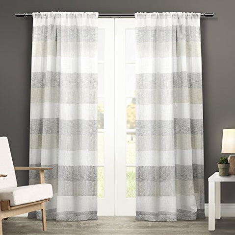 Exclusive Home Bern Rod Pocket Window Curtain Panels (Set Of 2), 50 X 84, Dove Grey