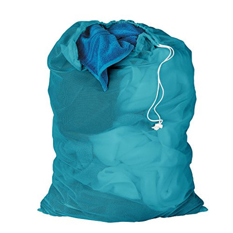 Honey-Can-Do Lbg-02811 Mesh Laundry Bag With Drawstring, Ocean Blue, 25-Inches L X 36-Inches H