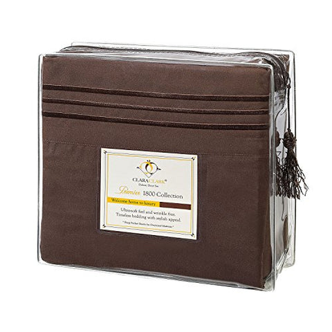 Clara Clark Premier 1800 Collection 4Pc Bed Sheet Set - Cal King Size, Chocolate Brown,