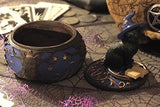 Magical Black Cat Sorcerer Witch Hat With Spell Book Trinket Box Secret Stash 5  H