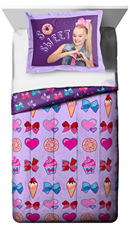 Nickelodeon Jojo Siwa Sweet Life Twin/Full Purple Comforter And Sham 2 Piece Set