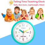 Mod Clox Educational Kids Wall Clock Battery Operated Non Ticking Toddler Teaching Clocks Time Learning Decorative Kids Bedroom Classroom Teal Frame 10''