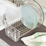 Interdesign Classico Compact Kitchen Dish Drainer Rack For Drying Glasses, Silverware, Bowls, Plates - Satin/Clear