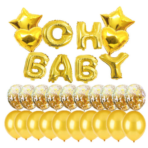 Baby Shower Decorations For Girl Gold Oh Baby Foil Balloons Decoration For Baby Shower Party Supplies