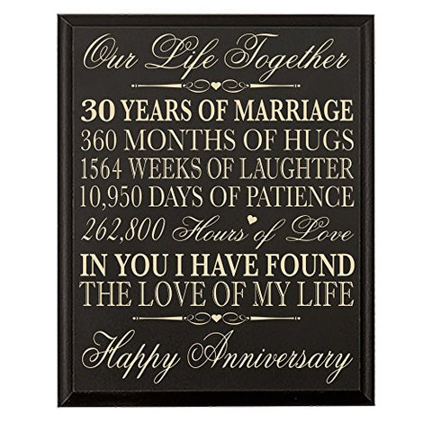30Th Anniversary Gift For Couple Parents 30 Year Anniversary Gifts Ideas Wall Plaque 12 X 15 By Dayspring Milestone ( (Black)