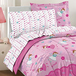 Dream Factory Magical Princess Ultra Soft Microfiber Girls Comforter Set, Pink, Twin