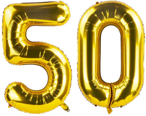 Zooyoo Gold 50 Foil Mylar Number Balloons For 50Th Birthday Party Decoration Supplies,50Th Anniversary,40 Inch.