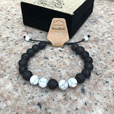 Banana Bucket Adjustable Calm Lava Stone Diffuser Bracelet - Meditation, Grounding, Healing, Genuine Stones, Natural, Essential Oils, Self Confidence, Holistic, Aromatherapy