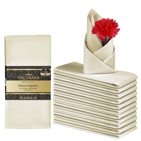 Talvania Cloth Dinner Napkins - Luxuriously Soft & Hotel Quality Cotton Napkins, Brilliant Fabric Napkins (18 X 18) Perfect For Events, Hotel & Home Use (Ivory)