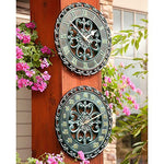 14 Copper Verdigris Outdoor Clock & Thermometer