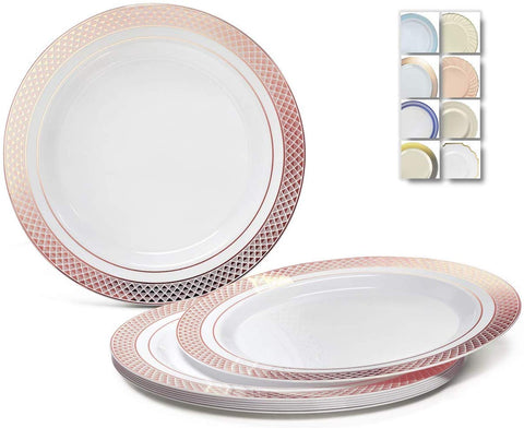 """ Occasions"" 60 Plates Pack, Heavyweight Disposable Wedding Party Plastic Plates (7.5'' Appetizer/Dessert Plate, Celebration White/Rose Gold)"