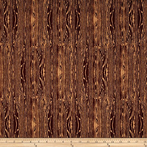 Aviary 2 Woodgrain Bark Brown Fabric By The Yard