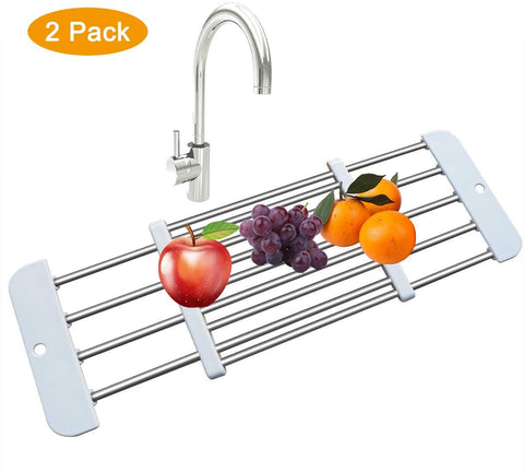 Over The Sink Dish Drying Rack  Dish Drainer Retractable Sink Rack Stainless Steel For Dishes, Cups, Fruits, Vegetables,Chopping Board