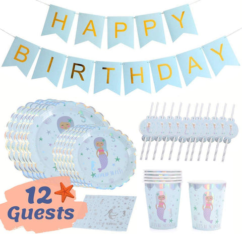 Onebttl Mermaid Party Supplies, Mermaid Birthday Party Decorations For Girls, Happy Birthday Banners, Plates, Napkins, Cups, Straws 12 Pieces Set (Silver)