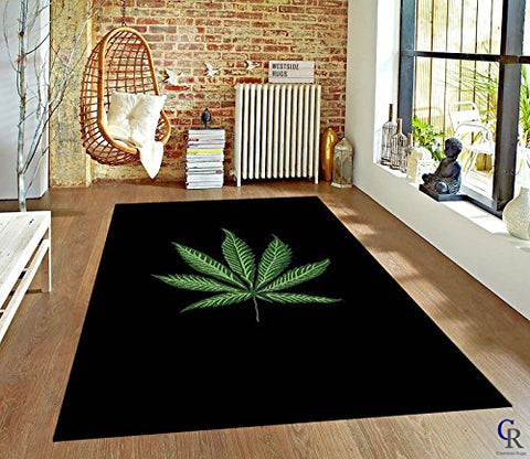 Mary Jane Leaf Plant Weed Marijuana Modern Novelty Area Rug Black Green (5 3 X 7 5)