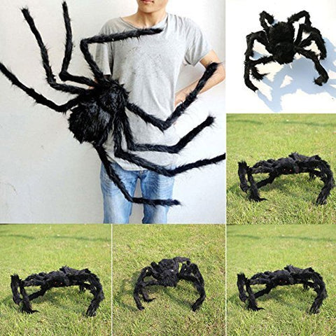 59 Inch 150Cm Giant Huge Black Spider Decorations, Halloween Large Size Realistic Fake Hairy Spider Decor, Outdoor Big Spider Props For Halloween Party, Garden Patio Spiderweb Decoration