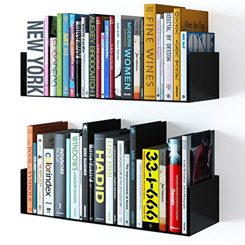 Floating Wall Mount Metal U Shape Shelf Book Cd Dvd Storage Display Bookcase Black , Set Of 2