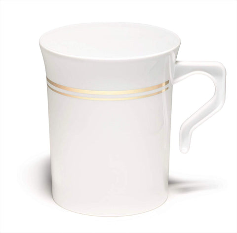 """ Occasions"" 60 Mugs Pack, Heavyweight Disposable Wedding Party Plastic 8 Oz Coffee Mugs Gold Trim/Tea Cups/Cappuccino Cups/Espresso Cup With Handles (White/Gold Rim)"