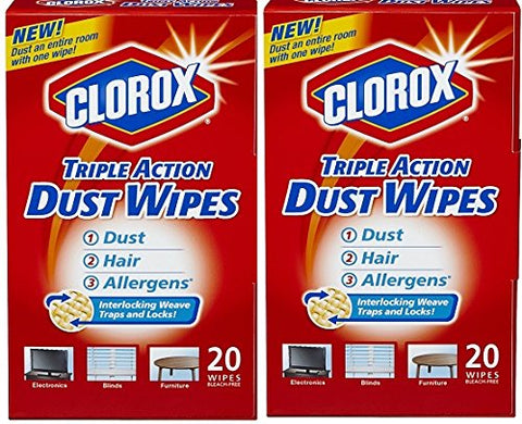 Clorox Triple Action Dust Wipes, 7 X 8.5 , 20 Count Each