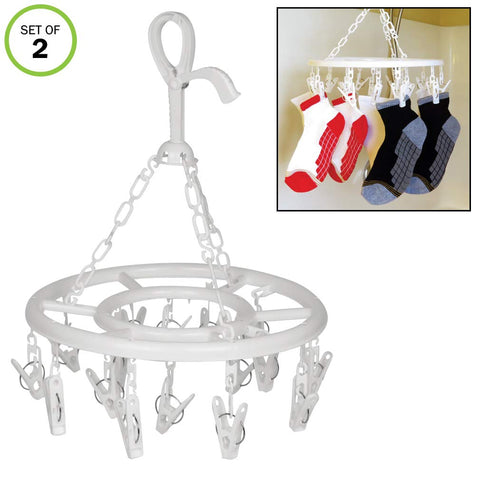 Evelots Clip And Drip Clothes/Laundry Drying Hanger With 16 Clips Total-Set/2
