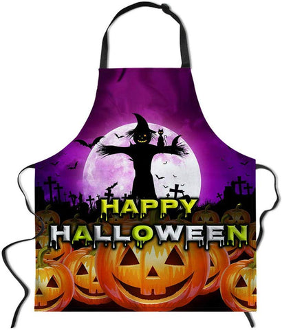 Salabomia Happy Halloween Apron, Evil Scarecrow Spiders Cat And Pumpkins In Full Moon Adjustable Easy Care Kitchen Apron For Women Men Chef Party Dark