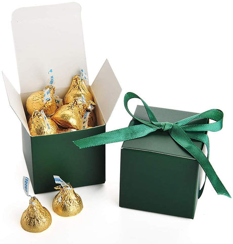 Awell Dark Green Gift Candy Box Bulk 2X2X2 Inches With Green Ribbon Party Favor Box