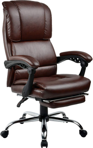 Comhoma Big & Tall Executive Computer Desk Chair Office Chair - Adjustable With Armrest, Footrest, 400-Pound Capacity - Brown