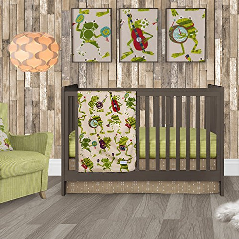 Sweet Potato Frog Song Crib Bedding Set, Green/Brown/Cream