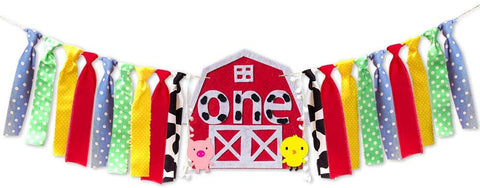 Farm Themed Boy Girl 1St Birthday Party High Chair Banner Barnyard Farm Animals Birthday Party Highchair Decoration