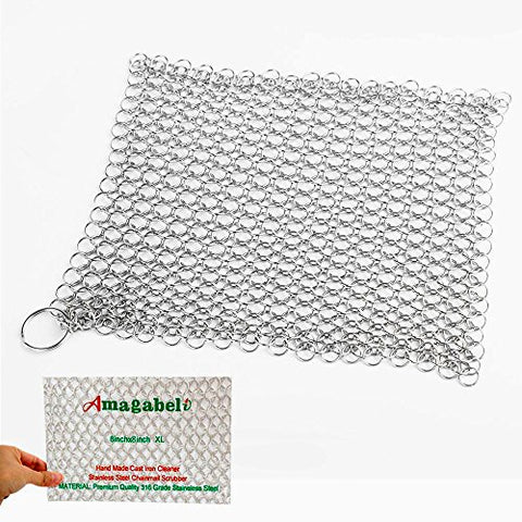 Amagabeli 8X8 Stainless Steel 316L Cast Iron Cleaner - Chainmail Scrubber For Cast Iron Pan Pre-Seasoned Pan Dutch Ovens Waffle Iron Pans Scraper Cast Iron Grill Scraper Skillet Scraper