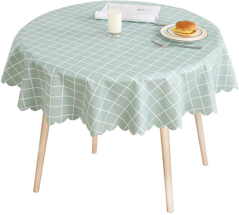 Lohascasa Round Vinyl Oilcloth Tablecloth Waterproof Pvc Wipeable Peva Heavy Duty Rustic Plastic Spillproof Tablecloth For Camping Buffalo Plaid 54 Inch