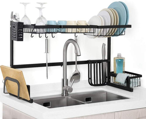Nandae Dish Drying Rack Over The Sink Dish Rack Length Adjustable For Kitchen Utensils Holder Stainless Steel, Black