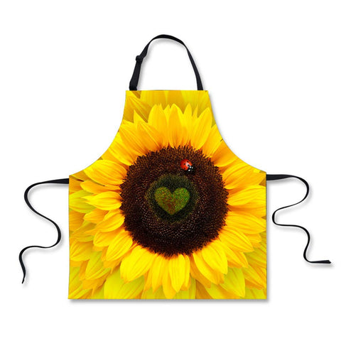 Coloranimal Adjustable Bib Apron With Extra Long Ties, Fashion Yellow Sunflower Pattern Unisex Girls Boys Aprons For Home Kitchen
