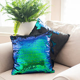 16X16 Mermaid Pillow With Insert Sparkling Mermaid With Flip Sequin Throw Pillow Mermaid Magic Glitter Reversible Color Changing Decorative Pillow Shams Dorm Room Decor For Sofa Comfy
